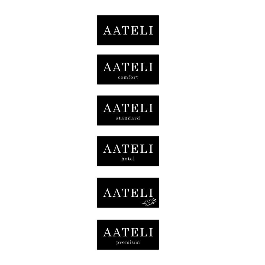 AATELI-sänkymalliston logojen suunnittelu