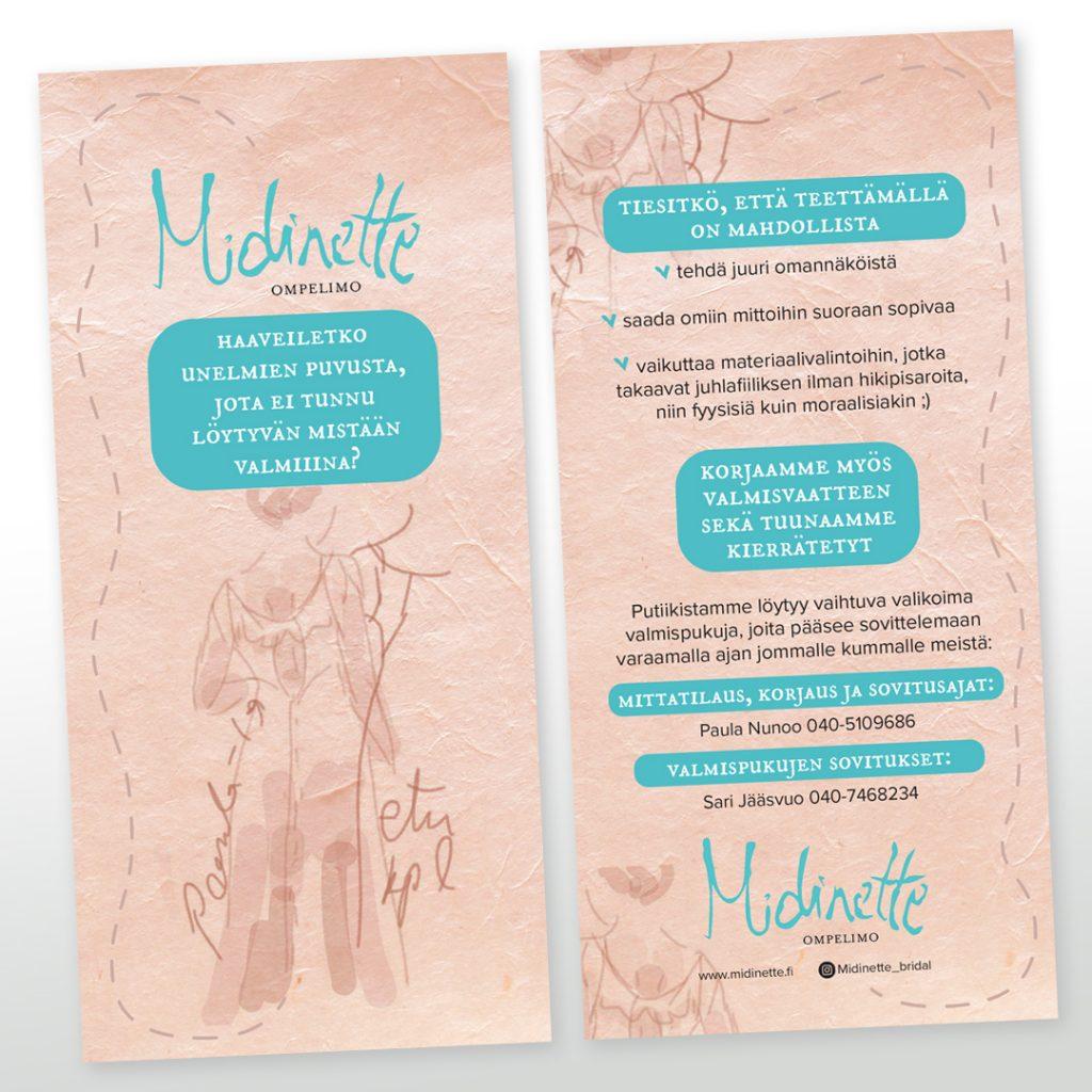 Messuflyerin suunnittelu ja toteutus Ompelimo Midinetelle.