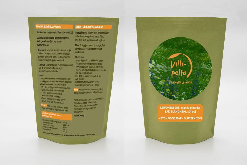 Villipelto logon suunnittelun lisäksi suunniteltiin myös ketogeenisten ja gluteenittomien leivontaseospussien etiketit.